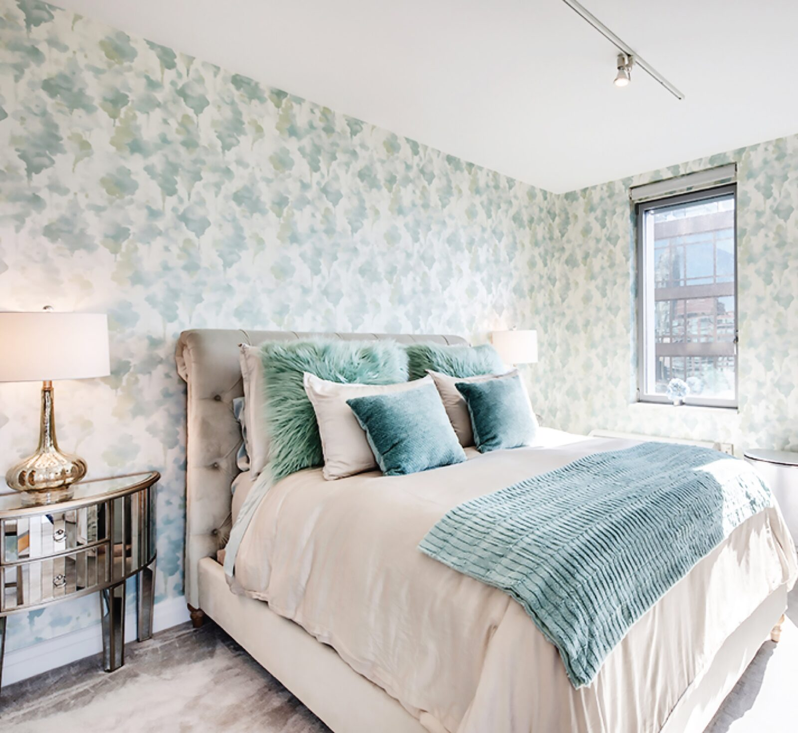 Candice Olson bedroom floral wallpaper