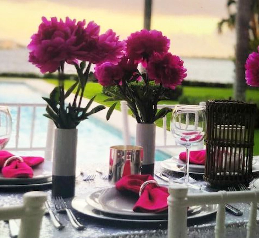Victoria Hagan table setting with flowers