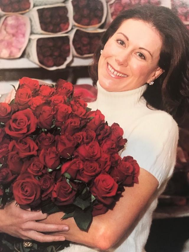 Carolyne Roehm With Bunch of Roses