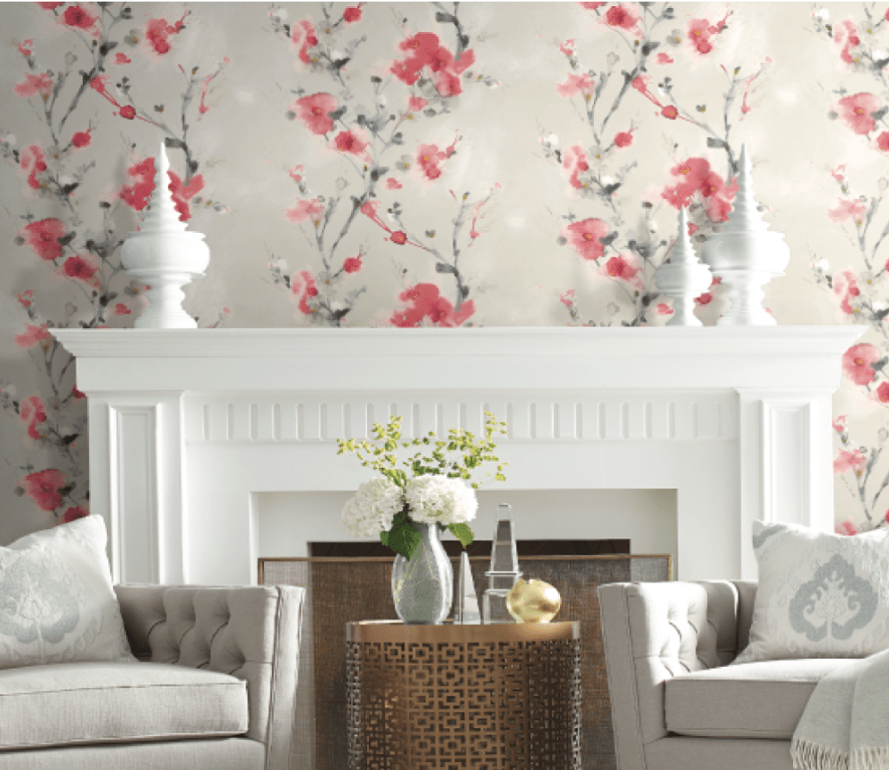 Candice Olson red floral wallpaper design