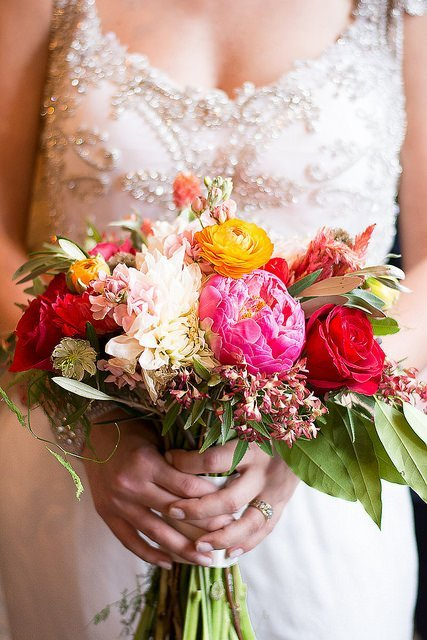 Wedding bouquet of cheerful of home-grown flowers