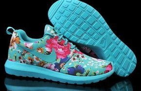 Blue Nike Sneakers With Flowers