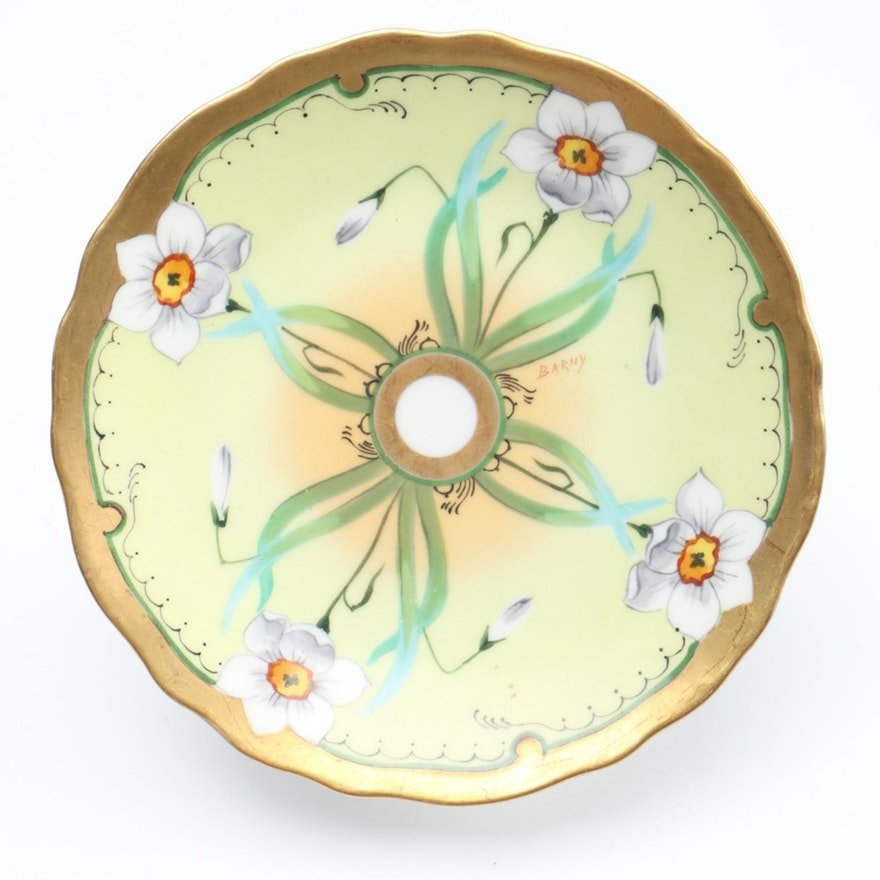 Hand-painted Limoge Plate Daffodils