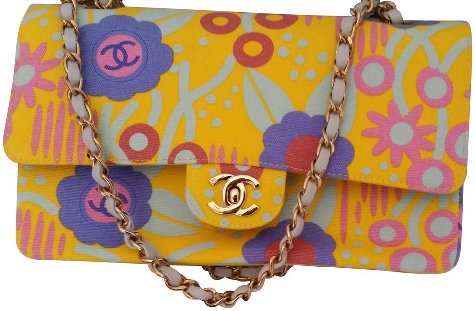 chanel-vintage-floral yellow multicolor canvas shoulder bag