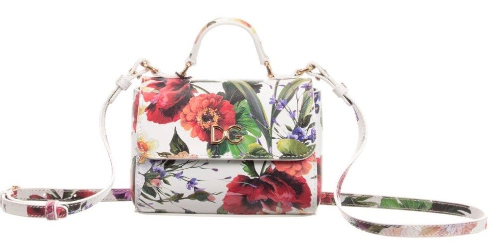 dolce gabbana girls floral leather handbag